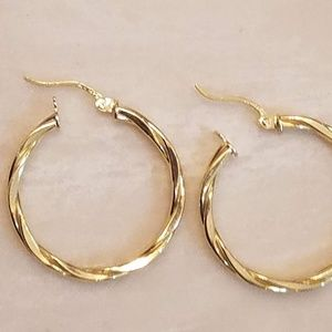 Gold plated over 925 silver hoop earrings 3mm tall